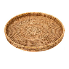 Artifacts Trading Company Rattan Round Tray, Honey Brown