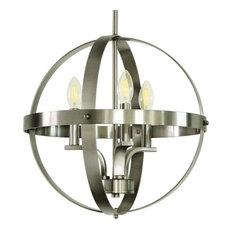 Gianna 3-Light Chandelier, Satin Steel