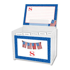 Recipe Box & Cards Flags Single Initial, Letter D
