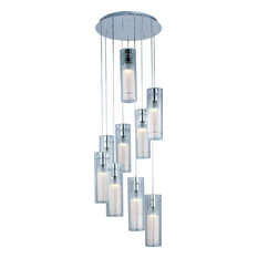 "Frost, Multi, Light Pendant, Polished Chrome, 15"", Clear, White"