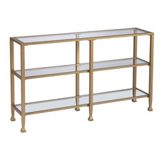 Jaymes Narrow Metal Console Table With Glass Shelves - Gold
