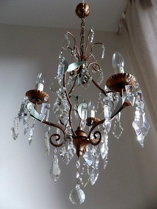 restyling lampadario anni 40 per camera da letto oro-verde - Lampadario Per Camera Da Letto