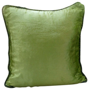 Lime Green Solid Color Cushion Cover, 50x50 Velvet Cushion Cover, Green Lime