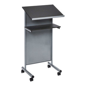 Modern Lectern, Steel Frame and MDF Top and Shelf, 4-Caster Wheel