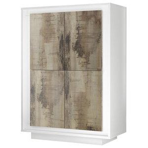 Amber V Modern Storage Cabinet, White and Natural Wood Finish
