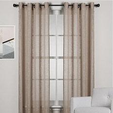 HOMESPUN Linen Look Sheer Eyelet Curtain Panel BROWN - Curtains