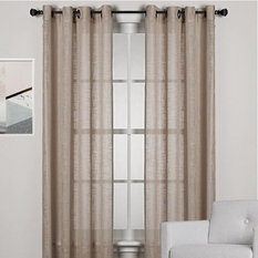 HOMESPUN Linen Look Sheer Eyelet Curtain Panel BROWN
