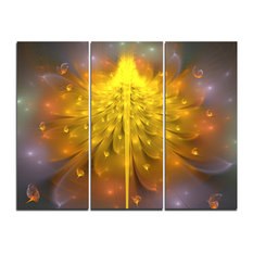 """Yellow Fractal Flower With Pink"" Digital Wall Art, 3 Panels, 36""x28"""