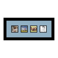 ArtToFrames Collage Photo Frame  with 4 - 3x3 Openings and Satin Black Frame