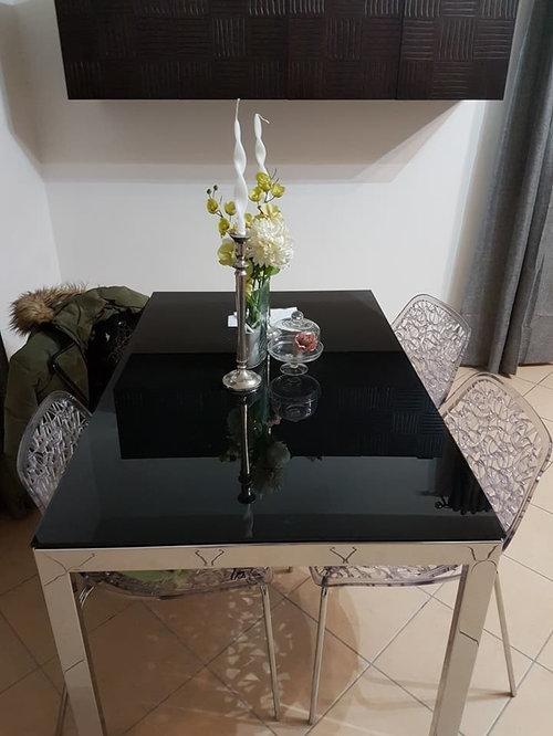tavolo cristallo nero