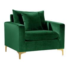 Naomi Velvet Chair, Gold and Chrome Leg Set, Green