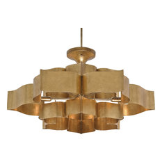 Grand Lotus Chandelier, Antique Gold Leaf