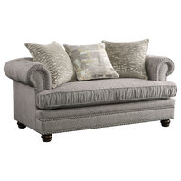ACME Gardenia Loveseat with 3 Pillows, Gray Fabric