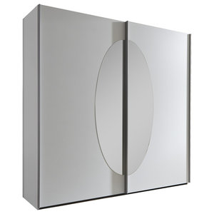 Madrid White Wardrobe with Oval Mirror