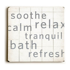 """""""Calm Tranquil Bath"""" Wood Sign, 18""""x18"""", Planked"""