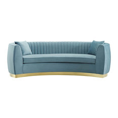 Enthusiastic Vertical Channel Tufted Curved Performance Velvet Sofa, Light Blue