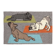 Liora Manne Frontporch Yoga Dogs Gray Indoor/Outdoor Rug, 2'6'x4'