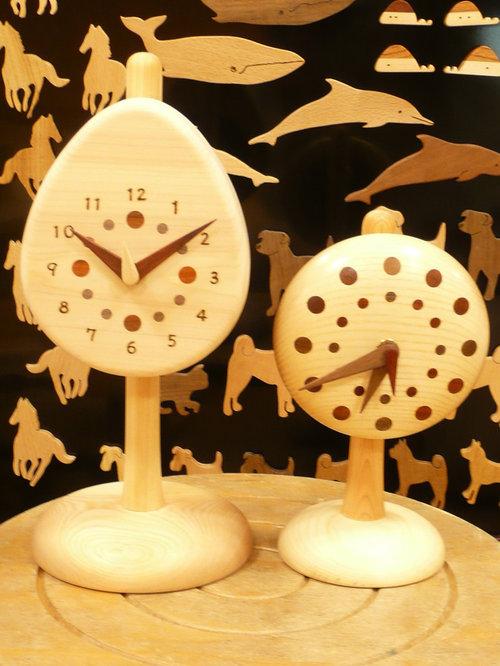 タマゴ時計・丸時計+スタンド - 時計