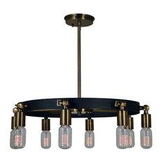 "Framburg 4889 Felix 8 Light 23"" Ring Chandelier, Antique Brass/Matte Black"