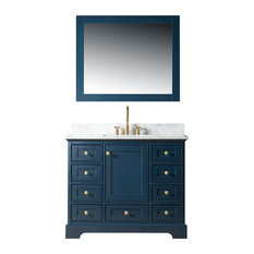 Jocelyn Bathroom Sink Vanity Set, White Marble Top, Base: Blue, 42""