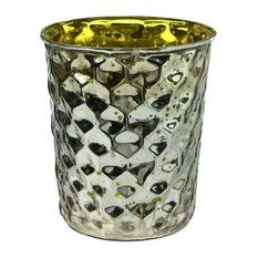"""Silver Hammered Mercury Glass Votive Candleholders, 4"""", Set of 4, Yellow"""