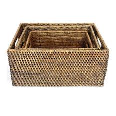 Rattan Rectangular Baskets With Handles, 3-Piece Set