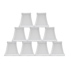"""5"""" Square Faux Silk Bell Chandelier Lamp Shade, Off White, Set of 9"""