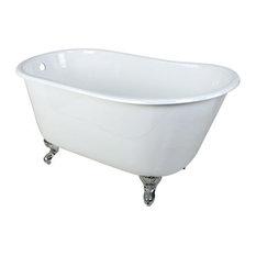 """53"""" Cast Iron Clawfoot Bathtub, Chrome, No, White/Feet in Chrome"""