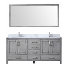 72 Inch Modern Distressed Gray Double Sink Bathroom Vanity With Sinks Marble