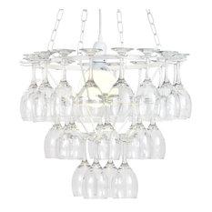 Litecraft Wine Glass Chandelier, Silver, 1 Light, White, 3 Tier