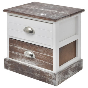 VidaXL Shabby Chic Bedside Cabinet, Brown and White