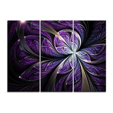 """""""Glittering Purple Fractal Flower"""" Wall Art, 3 Panels, 36""""x28"""""""