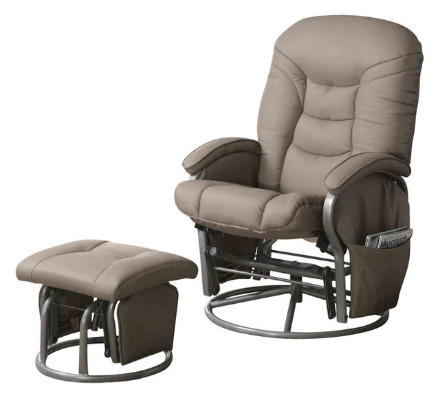 Casual Leatherette Glider Recliner with Matching Ottoman Set