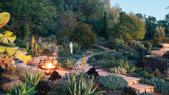 Natural Stone Garden Pathway and Outdoor Fireplace