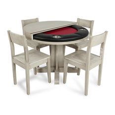 Luna Compact Poker Game & Dining Table Set with 4 Matching Chairs, Red Suited Sp
