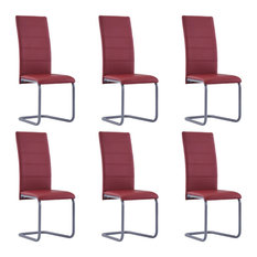 VidaXL 6x Cantilever Dining Chairs Red Faux Leather Home Kitchen Dinner Seat