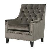 GDF Studio Jacey Tufted Back New Velvet Club Chair, Gray/Dark Brown