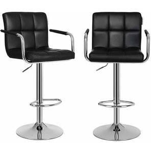 Modern Set of 2 Bar Stools, Faux Leather With Chrome Plated Frame, Black