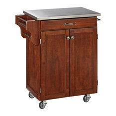 Hawthorne Collections Stainless Steel Top Kitchen Cart Cherry