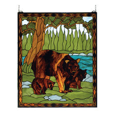 "25""Wx30""H Brown Bear Stained Glass Window"