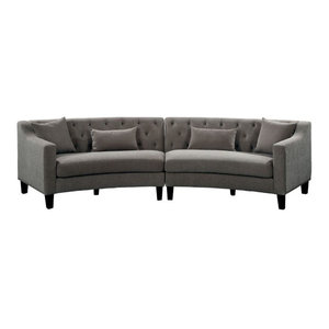 Luna 91 Quot X94 Quot Sectional Sofa With Bumper Contemporary