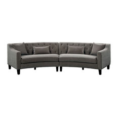 Furniture of America Stenson Contemporary Sectional in Warm Gray