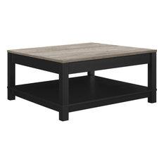 Ameriwood Home Altra Furniture Carver Square Coffee Table Black And Sonoma Oak