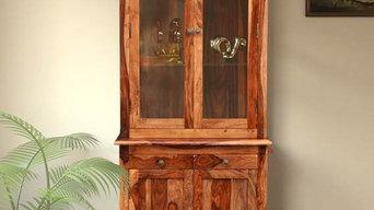 Lewis Solid Teak Wood Hutch Cabinet