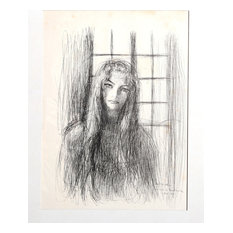"Dimitrie Berea ""Portrait Of A Woman Near Window, 11"" Ink Drawing"