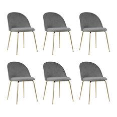 Millennial Brass Velvet Upholstered Dining Chair, Soft Grey, Set of 6