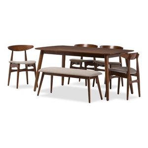 Flora Mid-Century Modern Wood 6-Piece Dining Set