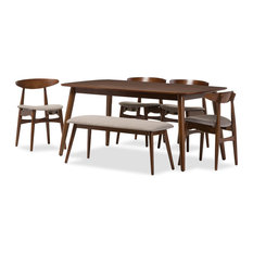 Baxton Studio - Flora Mid-Century Modern Wood 6-Piece Dining Set - Dining Sets
