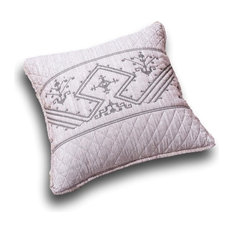 "Elegant Fair Isle Purple Grey Yarn Dyed Euro Pillow Sham Cover, 26"" x 26"""