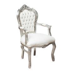 Louis XVI Fleur-de-Lys Armchair, Silver With White Faux Leather